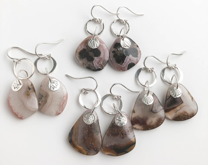 Agate Stone Earrings with Silver Circles