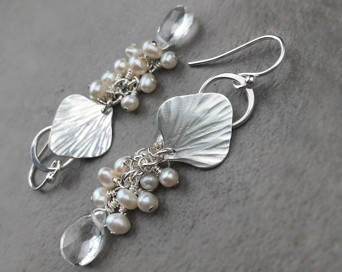 Quartz and Freshwater Pearl Cluster Earrings