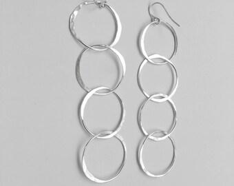 Extra Long Interlocked Circle Earrings