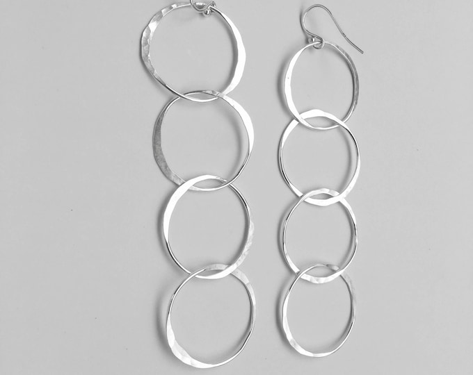 Extra Long Interlocked Circle Earrings