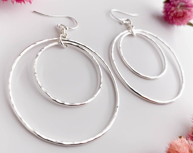 Double Circle Hammered Silver Earrings