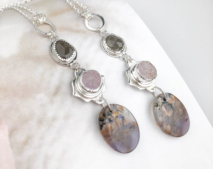 Agate, Drusy, and Gray Moonstone Y drop Necklace
