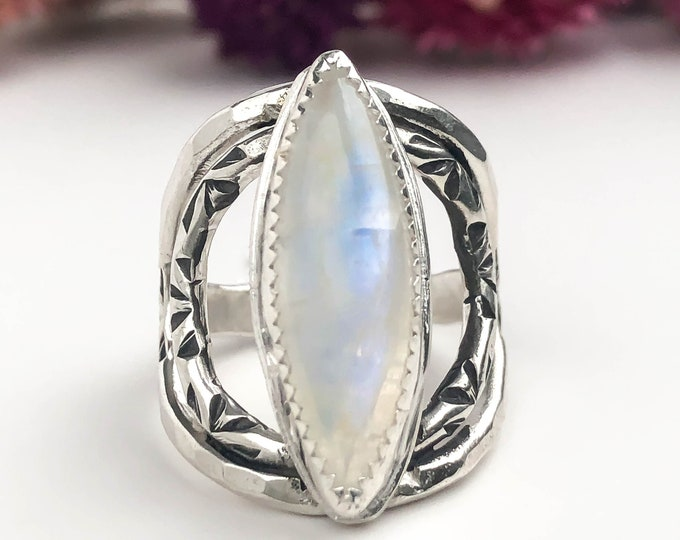 Rainbow Moonstone and Sterling Silver Statement Ring