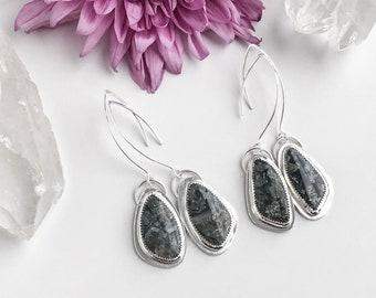 Pyrite Agate Stone Dangle Earrings