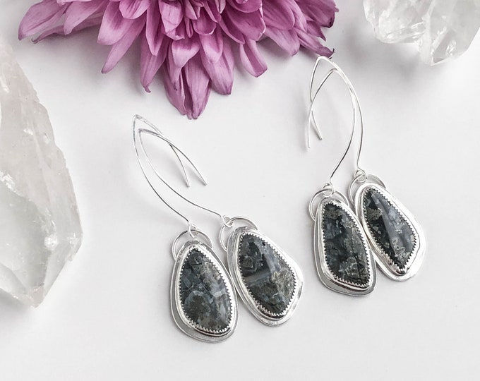 Pyrite Agate Stone Dangle Earrings