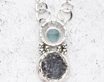 Drusy and Aquamarine Sterling Silver Pendant Necklace - Natural Raw Drusy Crystal Bezel Set Stone Jewelry