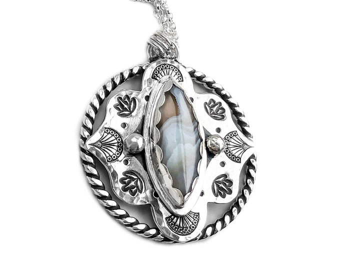 Agate and Sterling Silver Stamped Necklace