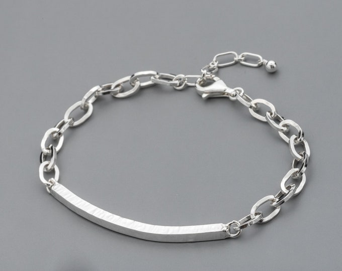 Sterling Silver Chain Bracelet with Hammered Bar