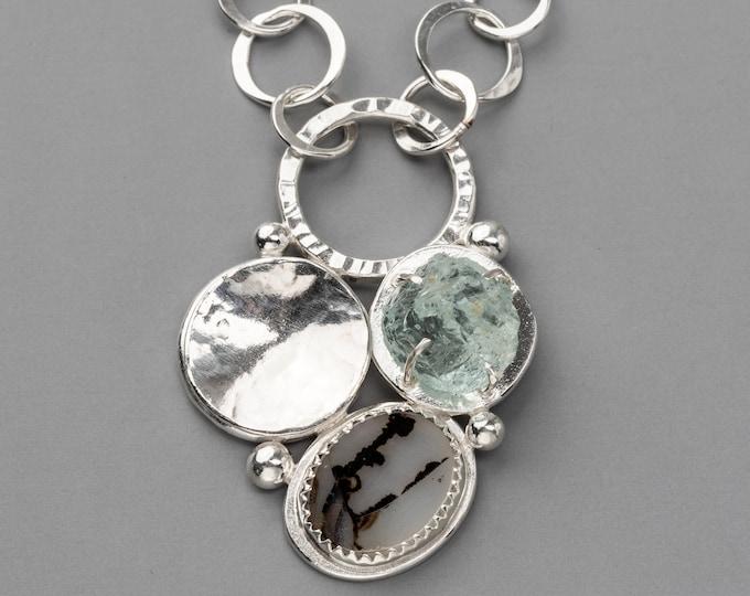 Dendritic Agate and Raw Aquamarine Pendant Necklace