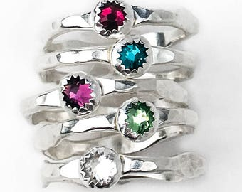 Crystal Birthstone Stacking Ring