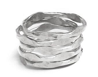 Silver Stacking Rings Set