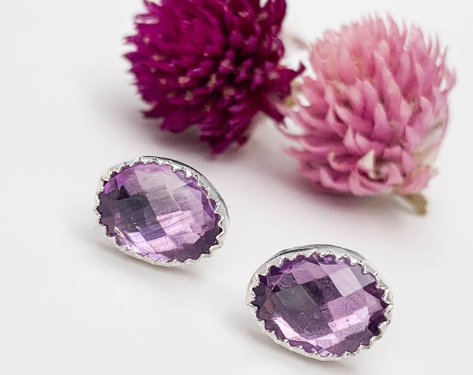 Rose Cut Amethyst Studs