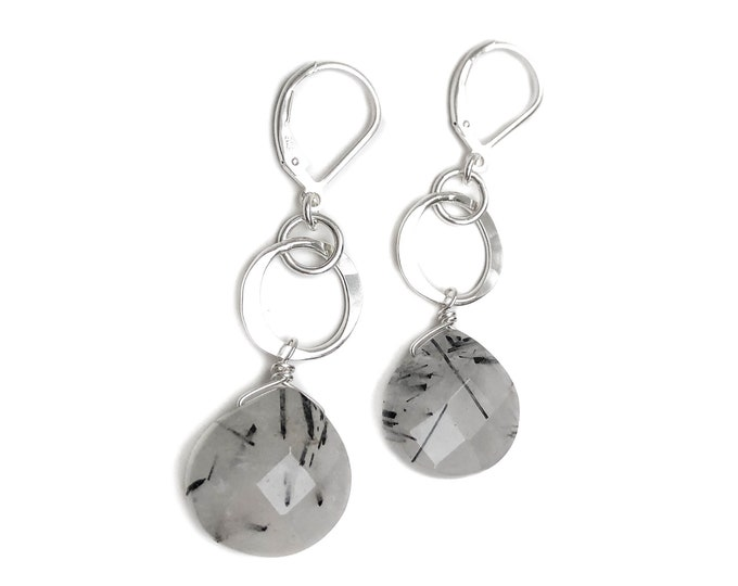 Tourmalinated Quartz Lever Back Earrings