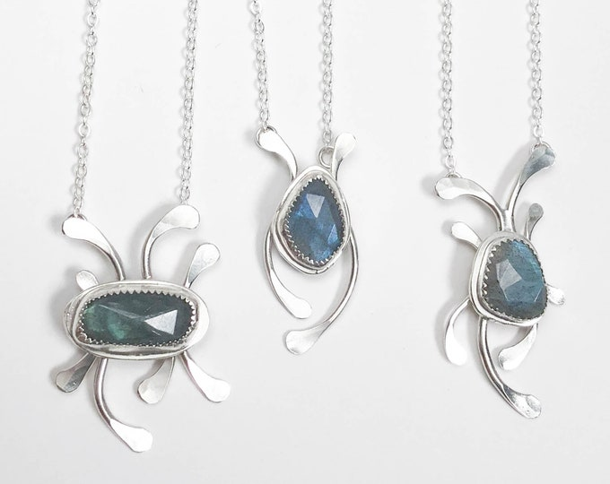 Rose Cut Labradorite and Hammered Silver Necklace