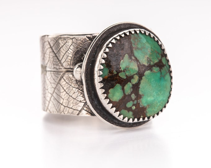 Turquoise Wide Leaf Band Ring