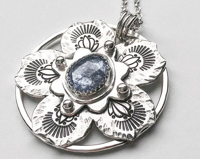 Tanzanite Sterling Silver Flower Long Pendant Necklace