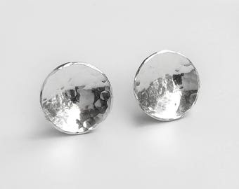 Hammered Silver Disc Stud Earrings