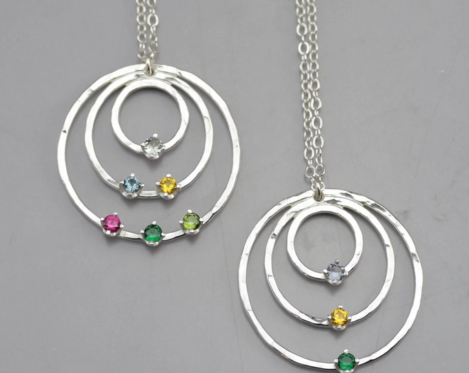 Three Circle Birthstone Pendant Necklace