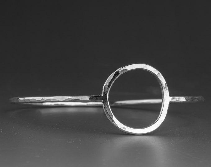 Hammered Circle Silver Bangle