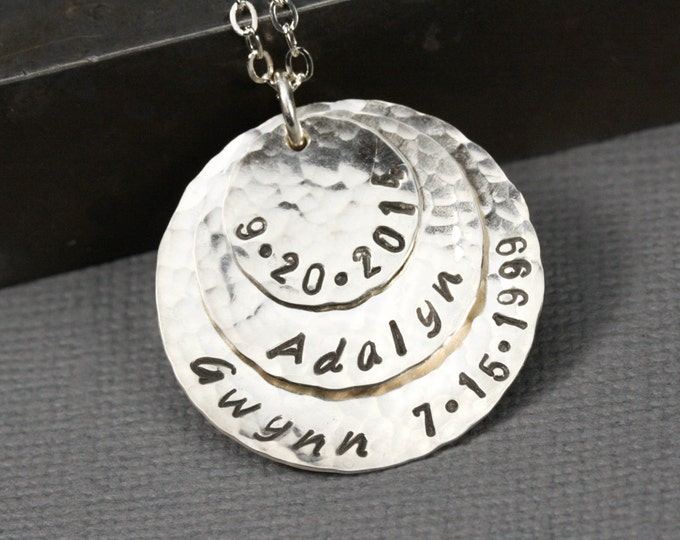 Personalized Sterling Silver Disc Necklace