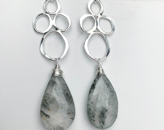 Green Rutilated Quartz Gemstone Statement Earrings