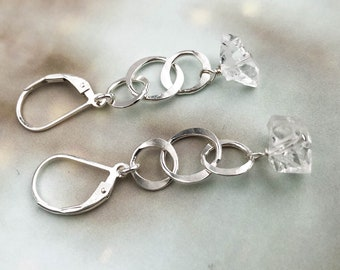 Herkimer Diamond and Sterling Silver Circle Dangle Earrings