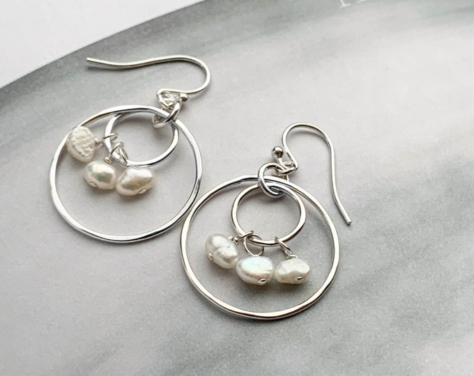 Dangling Pearls Two Circle Earrings