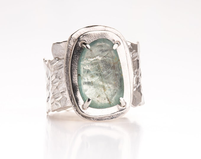 Wide Band Aquamarine and Sterling Silver Ring