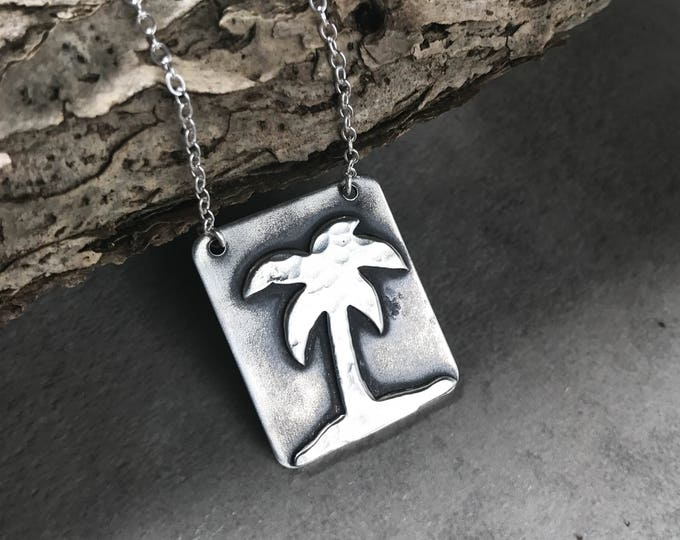Rectangle Palm Tree Pendant Necklace