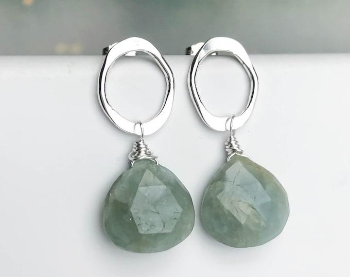 Blue Green Prehnite Stone Post Earrings