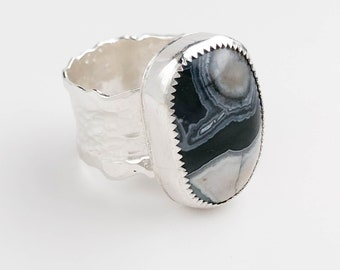 Black and Gray Agate Ring