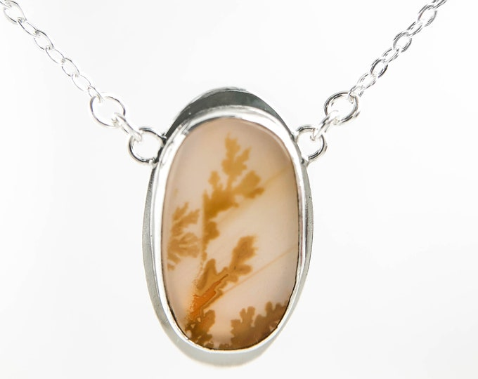 Oval Dendritic Agate Pendant Necklace
