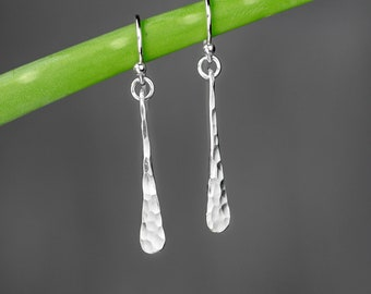 One Inch Hammered Silver Stick Earrings