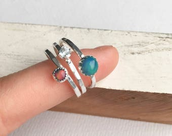 Opal and Blue Topaz Gemstone Ring Stack