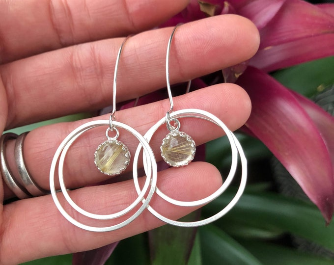 Golden Rutilated Quartz Hoop Dangles