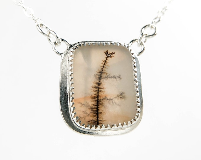 Bezel Set Dendritic Agate Rectangle Necklace