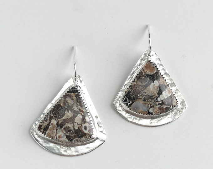 Turritella Agate Dangle Earrings