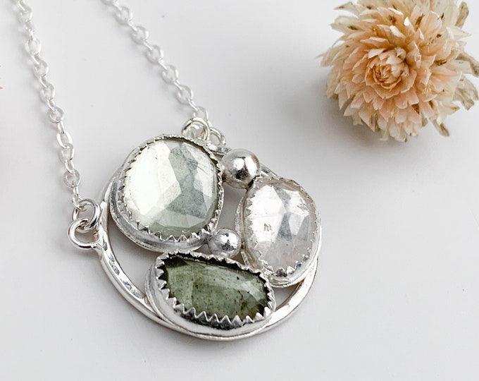 Soft Green Cluster Pendant Necklace