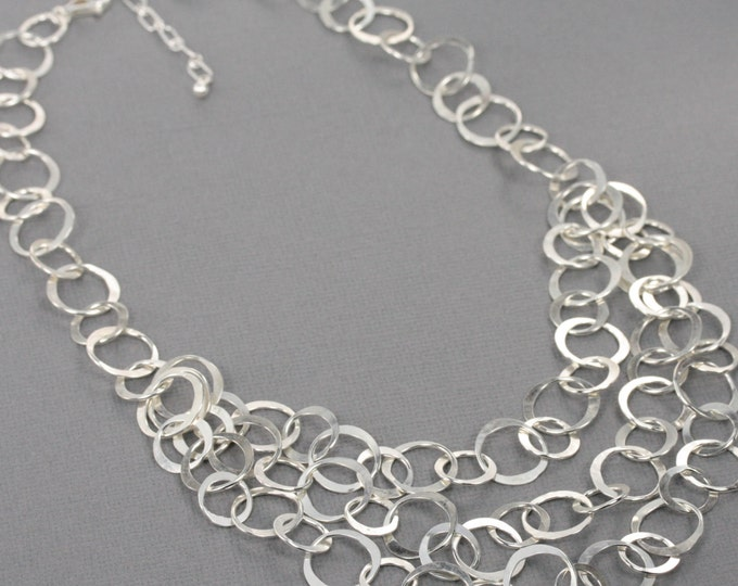 Sterling Silver Chain Statement Necklace