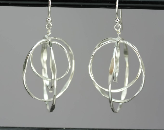 Silver Spinning Hoop Earrings