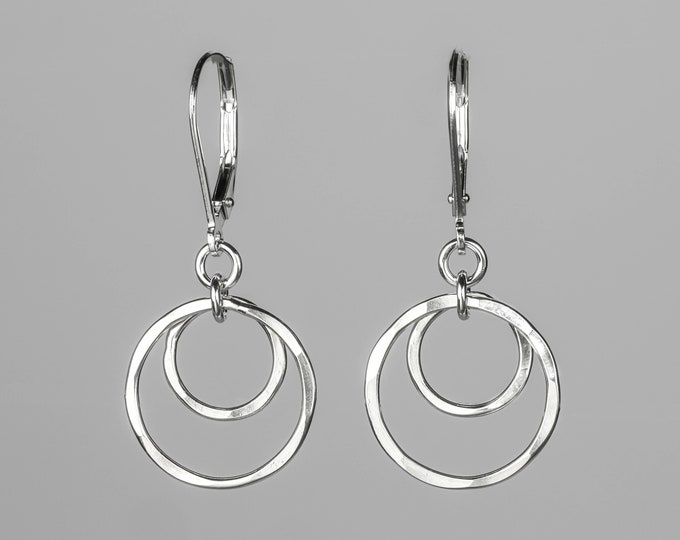 Small Silver Circles Lever back Earrings