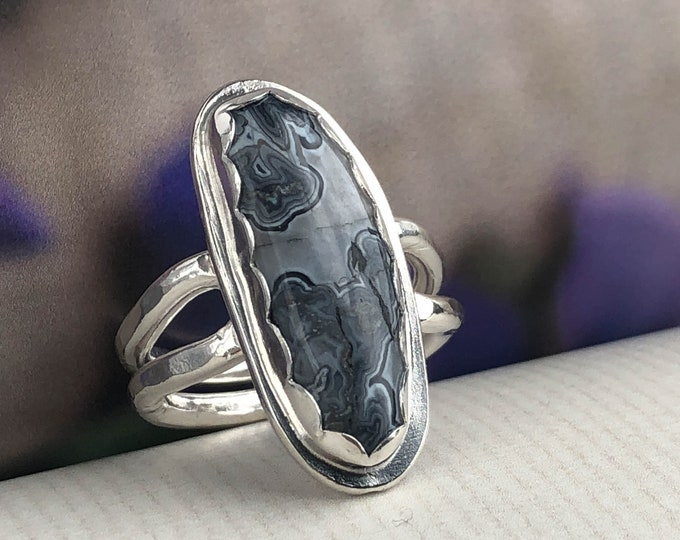 Gray Agate Statement Ring