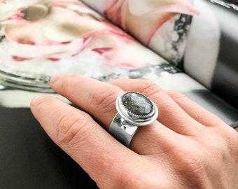 Wide Band Midnight Quartzite Ring
