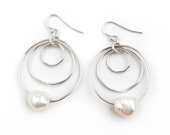 Organic Shaped Hoop Pearl Earrings