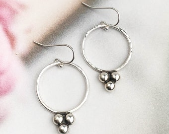 Hammered Circle Ball Cluster Earrings