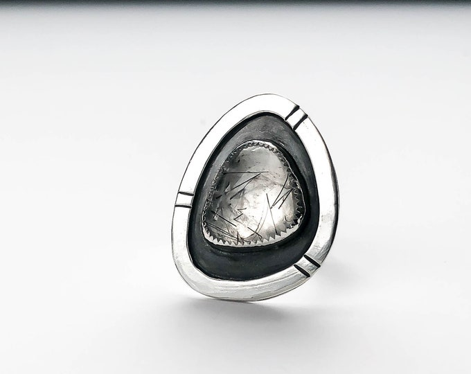 Tourmalinated Quartz and Sterling Silver Statement Ring