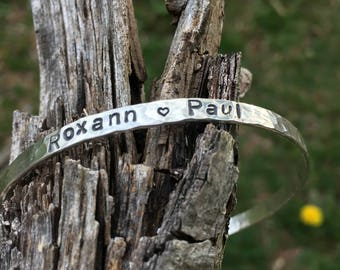 Personalized Hammered Bangle