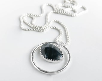 Psilomelane and Sterling Silver Pendant Necklace - Hammered Silver Circle Pendant with Black Bezel Set Stone - Everyday Silver Jewelry