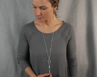 Silver Spinning Pendant Long Necklace
