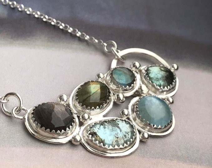 Gemstone Cluster Necklace - Labradorite, Aquamarine and Silver Moonstone